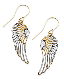 10k Two Tone Gold Earrings, Wing Dangle Earrings