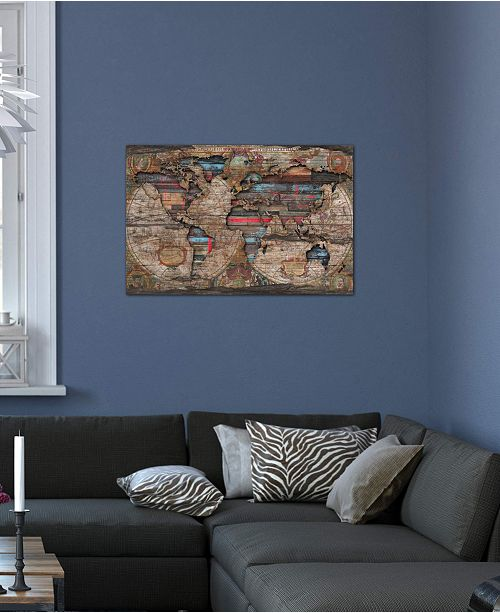 """iCanvas """"Distressed World Map"""" by Diego Tirigall Gallery-Wrapped Canvas Print (26 x 40 x 0.75)"""