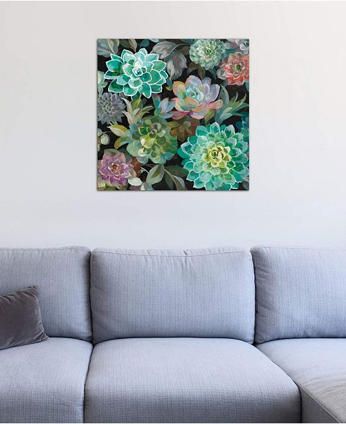 """iCanvas """"Floral Succulents In Zoom"""" by Danhui Nai Gallery-Wrapped Canvas Print (18 x 18 x 0.75)"""