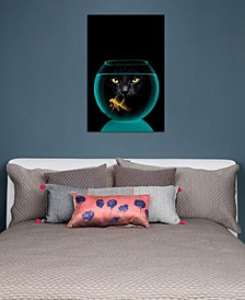 """Black Cat Goldfish"" by Vin Zzep Gallery-Wrapped Canvas Print (26 x 18 x 0.75)"
