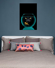 "iCanvas ""Black Cat Goldfish"" by Vin Zzep Gallery-Wrapped Canvas Print (26 x 18 x 0.75)"