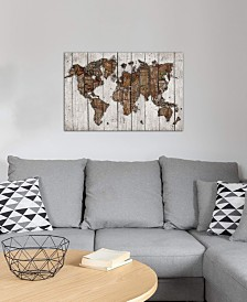 "iCanvas ""Wood Map"" by Diego Tirigall Gallery-Wrapped Canvas Print (26 x 40 x 0.75)"