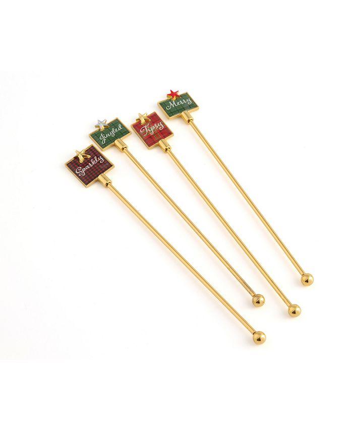 Thirstystone Plaid Enamel Swizzle Sticks Set of 4