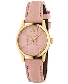 Women's Swiss G-Timeless Pink Leather Strap Watch 27mm