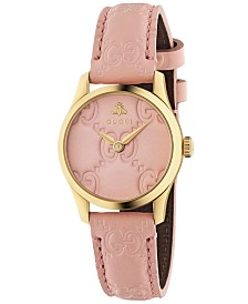 Gucci Women's Swiss G-Timeless Pink Leather Strap Watch 27mm