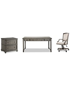 Sloane Home Office, 3-Pc. Set (Writing Desk, Lateral File Cabinet & Upholstered Desk Chair), Created for Macy's