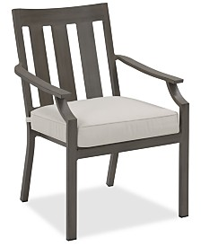 CLOSEOUT! Rialto Outdoor Aluminum Slat Back Dining Chair, Created For Macy's