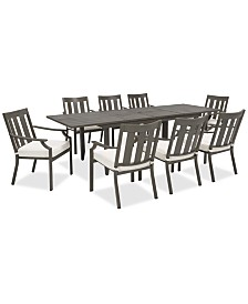 CLOSEOUT! Rialto Outdoor Aluminum 9-Pc. Dining Set (Extension Dining Table And 8 Slat Back Dining Chairs), Created For Macy's