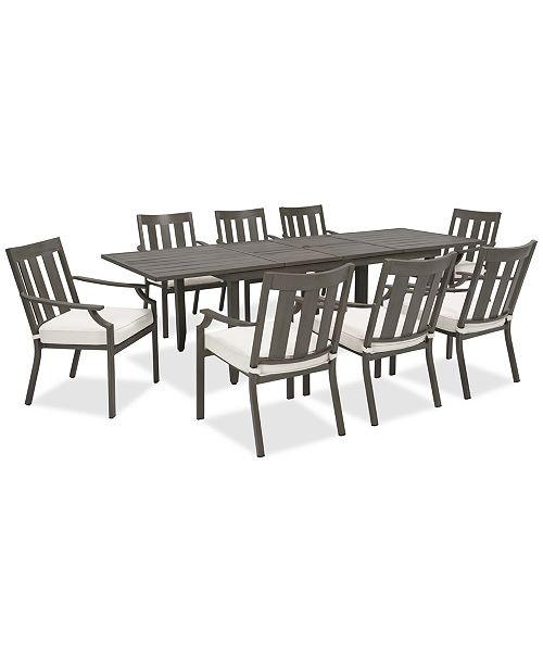Closeout Rialto Outdoor Aluminum 9 Pc Dining Set Extension Table And 8 Slat Back Chairs Created For Macy S