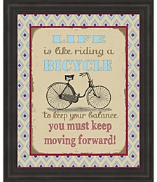 Life Bicycle Message 1 by Jean Plout Framed Art