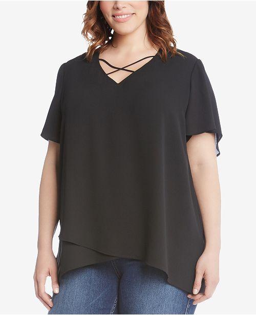 856c9988bb6 Karen Kane Plus Size Crisscross Front Top - Tops - Women - Macy s