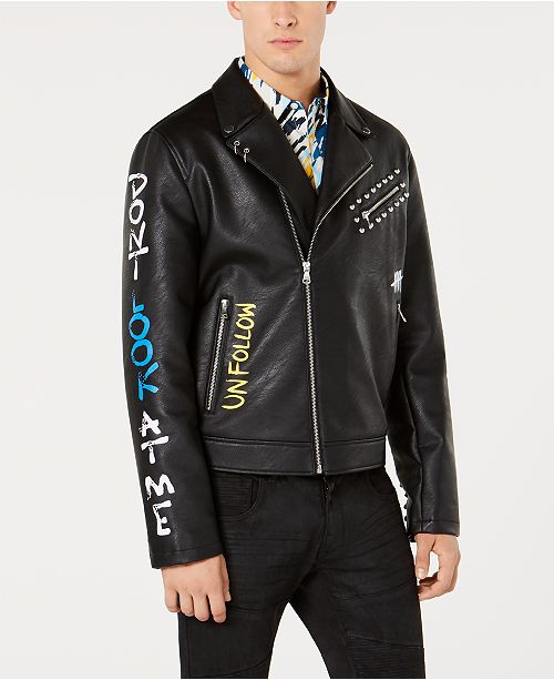 INC International Concepts I.N.C. Mens Painted Moto Jacket, Created for Macy's
