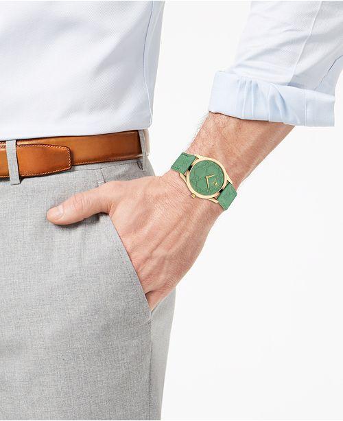 e143ec983c663 ... Gucci Unisex Swiss G-Timeless Green GG Signature Leather Strap Watch  38mm ...