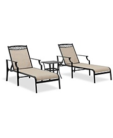 Outdoor Cast Aluminum 3-Pc. Chaise Set (End Table And 2 Chaise Lounges), Created For Macy's