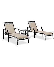 Portofino Outdoor Cast Aluminum 3-Pc. Chaise Set (End Table And 2 Chaise Lounges), Created For Macy's