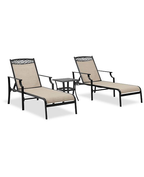 Furniture Outdoor Cast Aluminum 3-Pc. Chaise Set (End Table And 2 Chaise Lounges), Created For Macy's
