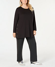 Ideology Plus Size Side-Snap Tunic, Created for Macy's