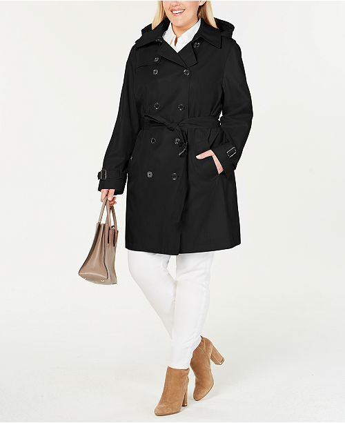 ad8b63a67d6e Michael Kors Plus Size Double-Breasted Trench Coat & Reviews - Coats ...