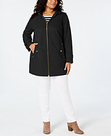 MICHAEL Michael Kors Plus Size Hooded Raincoat