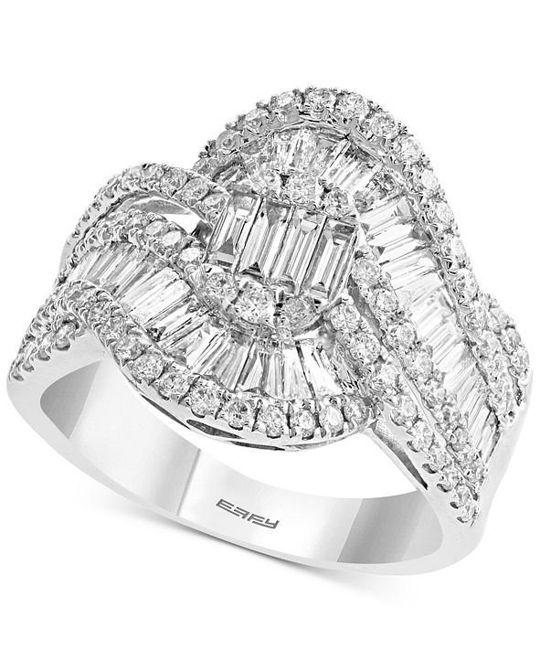 EFFY Collection EFFY® Diamond Baguette Swirl Statement Ring (1-1/2 ct. t.w.) in 14k White Gold