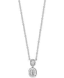 "EFFY® Baguette Cluster 18"" Pendant Necklace (1/3 ct. t.w.) in 14k White Gold"