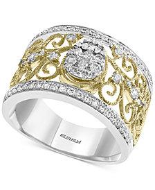 EFFY® Diamond Two-Tone Filigree Ring (5/8 ct. t.w.) in 14k Gold & White Gold