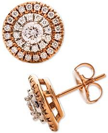 Diamond Halo Stud Earrings (1 ct. t.w.) in 14k Rose & White Gold