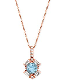 "Baguette Frenzy™ Multi-Gemstone 20"" Pendant Necklace (1-1/3 ct. t.w.) in 14k Rose gold"