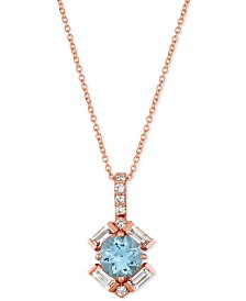 "Le Vian Baguette Frenzy™ Multi-Gemstone 20"" Pendant Necklace (1-1/3 ct. t.w.) in 14k Rose gold"