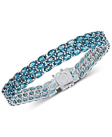 Blue Topaz Triple Row Link Bracelet (20 ct. t.w.) in Sterling Silver