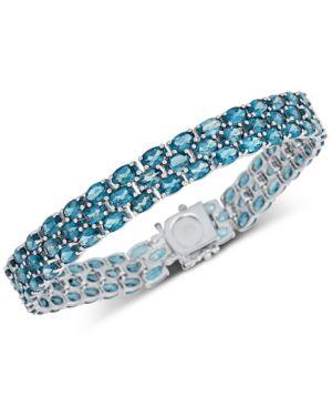 Blue Topaz Triple Row Link Bracelet (20 ct. t.w.) in Sterling Silver -  Macy's