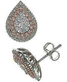 Diamond Halo Teardrop Stud Earrings (1/2 ct. t.w.) in 14k White & Rose Gold