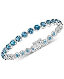 London Blue Topaz Rope-Frame Link Bracelet (16 ct. t.w.) in Sterling Silver
