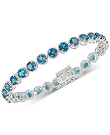 London Blue Topaz Rope-Frame Link Bracelet (16 ct. t.w.) in Sterling Silver