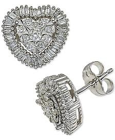 Diamond Halo Heart Stud Earrings (1/2 ct. t.w.) in 14k White Gold