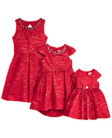 Rare Editions Baby, Toddler, Little & Big Girls Sister Metallic Brocade Fit & Flare Dresses