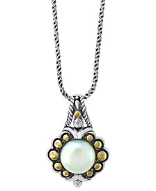 "EFFY® Cultured Freshwater Pearl (9mm) 18"" Pendant Necklace in Sterling Silver & 18k Gold"