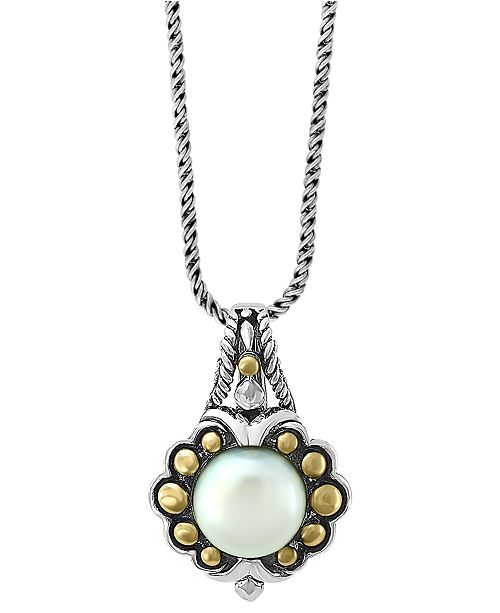 "EFFY Collection EFFY® Cultured Freshwater Pearl (9mm) 18"" Pendant Necklace in Sterling Silver & 18k Gold"