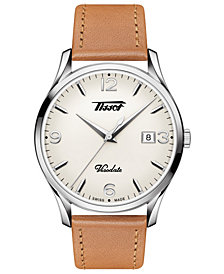 Tissot Men's Swiss Heritage Visodate Brown Leather Strap Watch 40mm