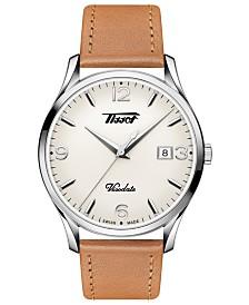 Tissot Men's Swiss Heritage Visodate Brown Leather Strap Watch 40mm