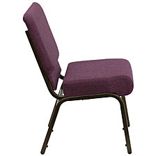 Hercules Series 21''W Stacking Church Chair In Plum Fabric - Gold Vein Frame