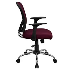 Mid-Back Burgundy Mesh Swivel Task Chair With Chrome Base And Arms