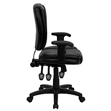 Mid-Back Black Leather Multifunction Ergonomic Swivel Task Chair With Adjustable Arms