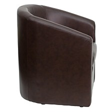 Brown Leather Barrel-Shaped Guest Chair