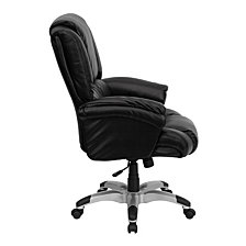 High Back Black Leather Overstuffed Executive Swivel Chair With Fully Upholstered Arms