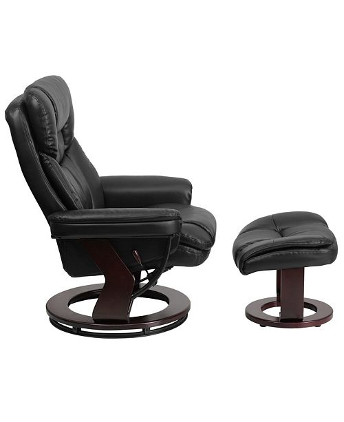 Prime Contemporary Black Leather Recliner And Ottoman With Swiveling Mahogany Wood Base Dailytribune Chair Design For Home Dailytribuneorg