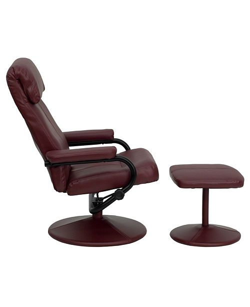 Astounding Contemporary Burgundy Leather Recliner And Ottoman With Leather Wrapped Base Dailytribune Chair Design For Home Dailytribuneorg
