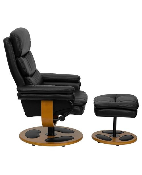 Incredible Contemporary Black Leather Recliner And Ottoman With Wood Base Uwap Interior Chair Design Uwaporg