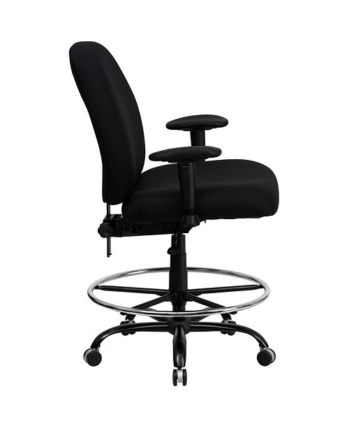 Superb Hercules Series Big Tall 400 Lb Rated Black Fabric Drafting Chair With Adjustable Arms Gmtry Best Dining Table And Chair Ideas Images Gmtryco