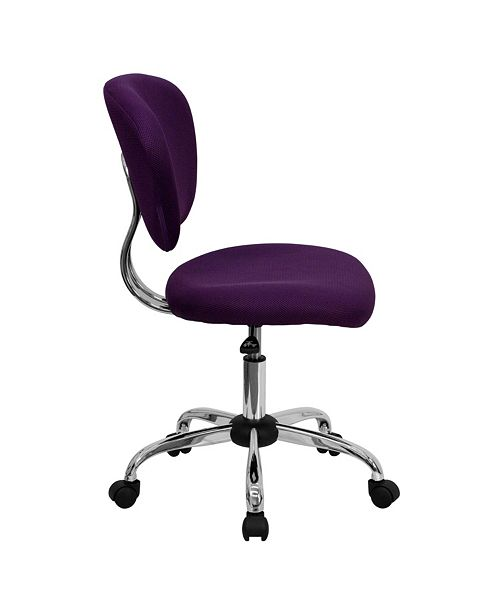 Flash Furniture Mid-Back Purple Mesh Swivel Task Chair With Chrome Base